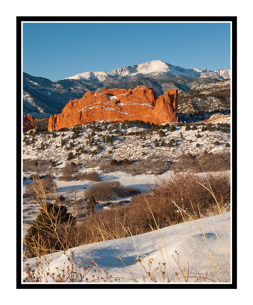 Pikes Peak over Garden of the Gods in Winter in Colorado Springs, Colorado  1889