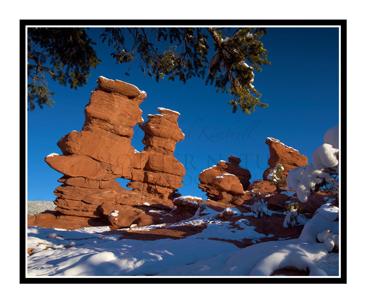 Siamese Twins Covered In Snow In Garden Of The Gods In Colorado Springs Colorado 2423
