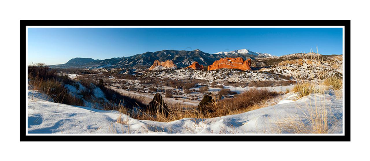 Pikes Peak over Garden of the Gods in Winter in Colorado Springs, Colorado  1898