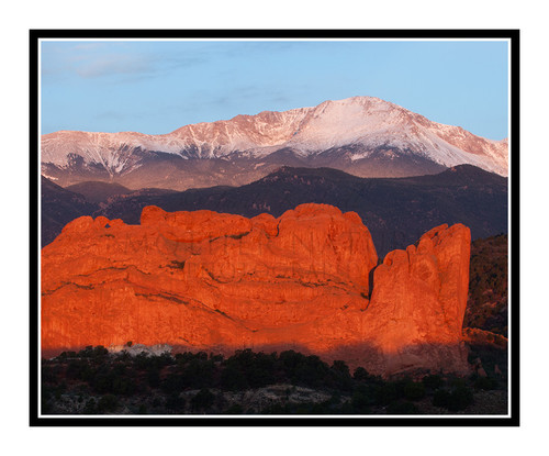 Pikes Peak over Garden of the Gods in Colorado Springs, Colorado 2022