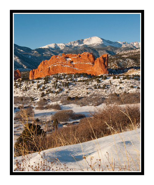 Pikes Peak over Garden of the Gods in Winter in Colorado Springs, Colorado 188