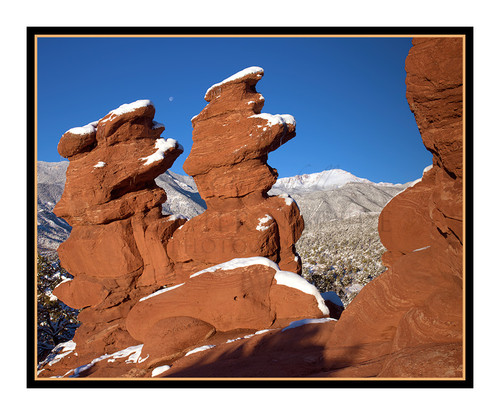 Pikes Peak over Siamese Twins Covered in Snow in Garden of the Gods in Colorado Springs, Colorado 2422