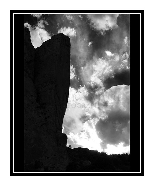 North Face of North Gateway Rock in Garden of the Gods in Colorado Springs, Colorado 2422 B&W