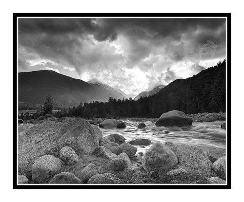 Alluvial Fan at Sunset in Rocky Mountain National Park, Colorado 2184 B&W