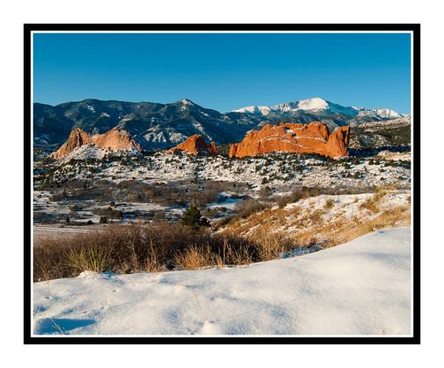 Pikes Peak over Garden of the Gods in Winter in Colorado Springs, Colorado 1886