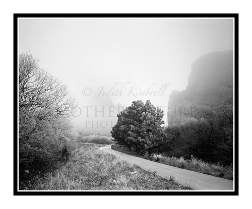 Garden of the Gods Gateway in Fog in Colorado Springs, Colorado 38 B&W