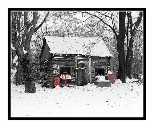 Historic Cabin in Winter Snow, Michigan 650