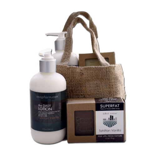 Soap Farm burlap gift bag with DAILY Lotion and SUPERFAT   natural handcrafted Soap.