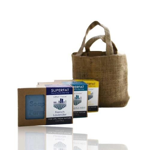 3 Superfat Soap Burlap Gift Bag