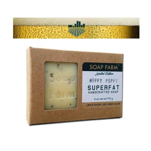 Superfat Beer Soap 6 oz bar in Hoppy Poppy