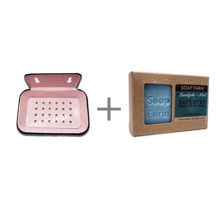 Rectangle Vintage Enamel Soap Dish and Superfat Soap Set