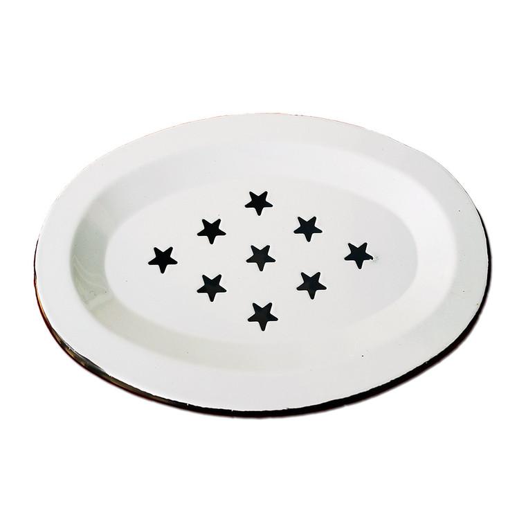 Vintage Enamel Farm Style Oval Soap Dish Reproduction White