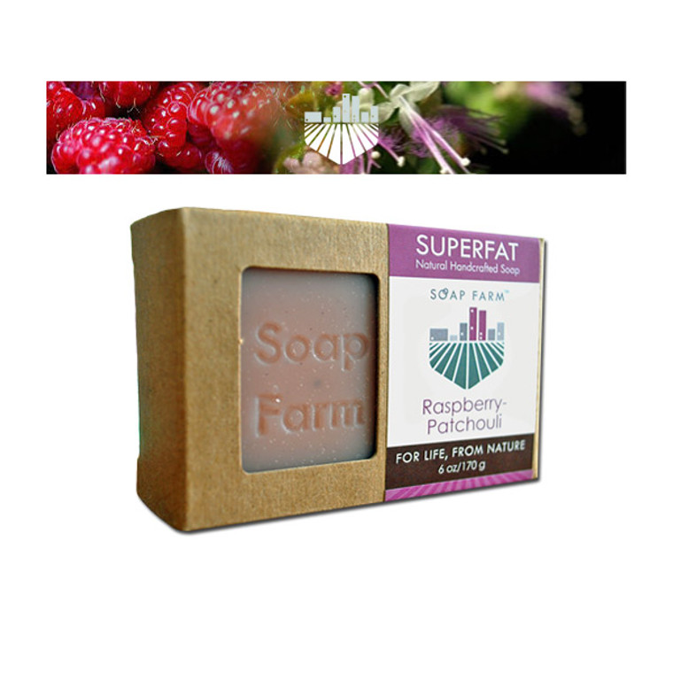 Superfat Raspberry + Patchouli 6 oz bar soap