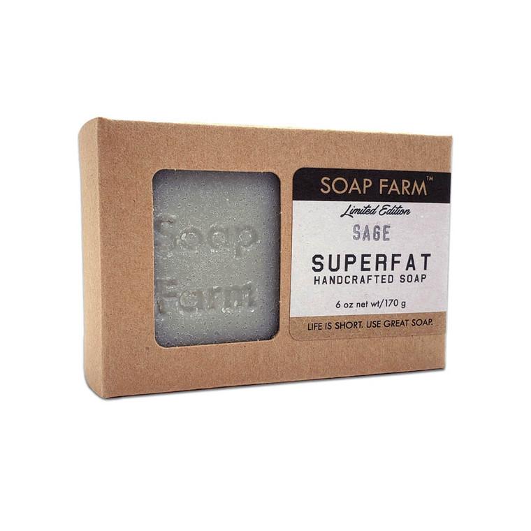 Superfat Handmade All natural soap Sage, 6 oz. bar