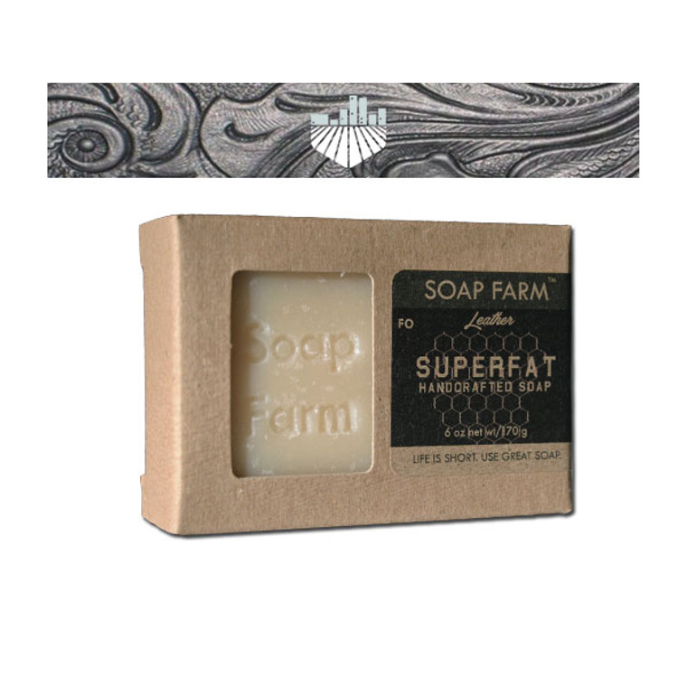 SUPERFAT Natural Handcrafted Bar Soap 6 oz Bar Leather