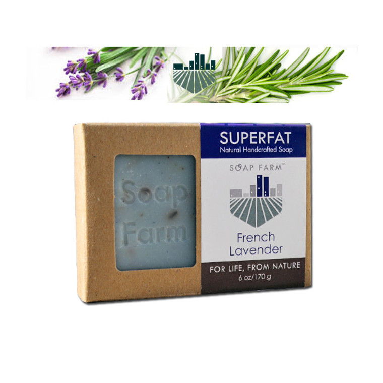 Superfat All Natural Handcrafted Soap in French Lavender 6 oz bar