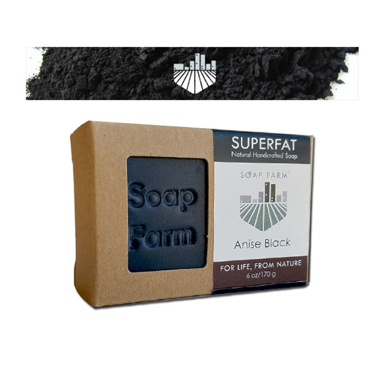 SUPERFAT Natural Handcrafted Soap Anise Black with Activated Oak Tree Charcoal