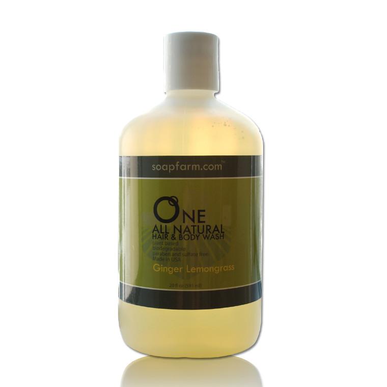 ONE Natural Hair & Body Wash 20 oz Ginger Lemongrass
