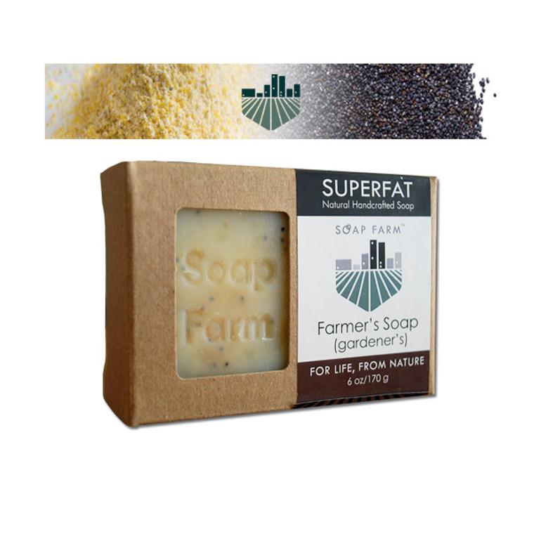 Superfat Farmers HANDMADE COLD PROCESS (Gardener's Scrub) soap 6 oz bar