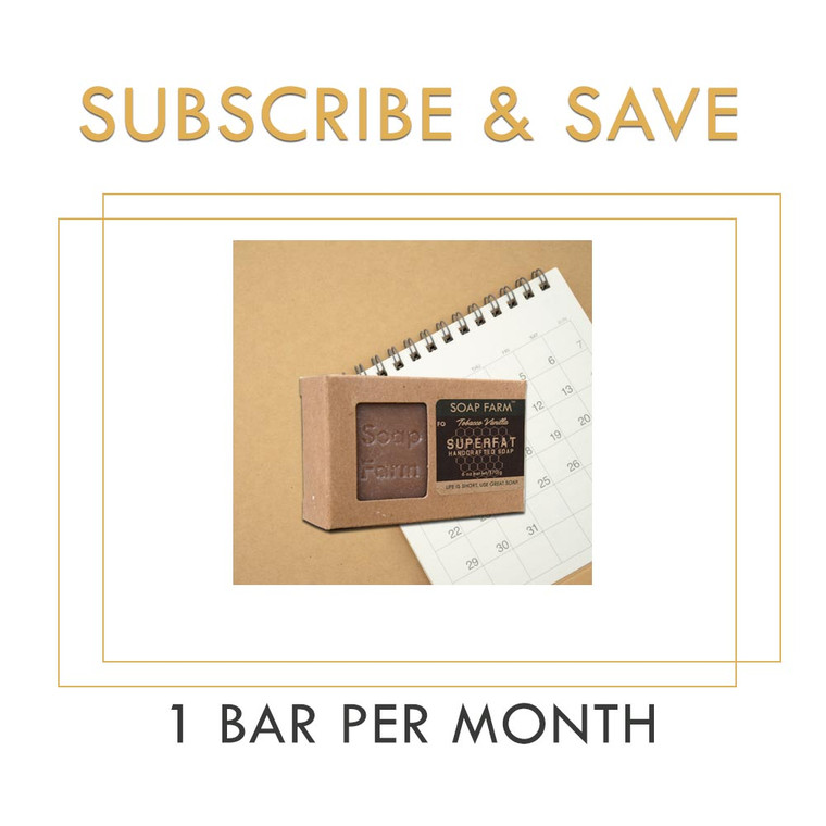 SUPERFAT Soap 1 Year Subscription, 1 Bar Per Month, Pay Ahead