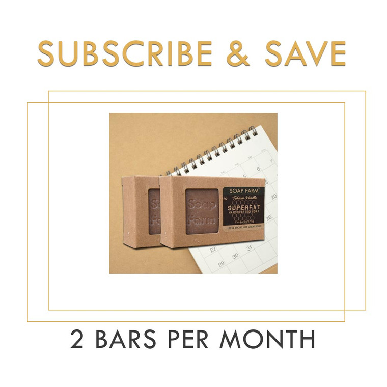 Soap Farm Superfat Soap Subscription, 2 Bars Per Month, Free Shipping