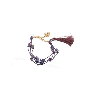 Purple/Gold Fleur Tassel Bracelet
