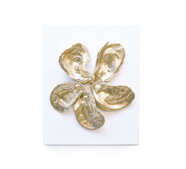 Handmade Oyster Spiral Art - 8x10 - 5 Shell
