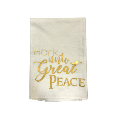 Gold Foil Hand Towel - Hark! Unto Great Peace.