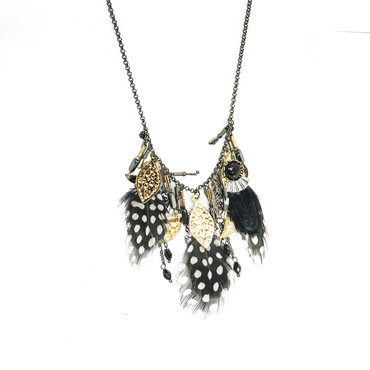 Black Feathered Necklace