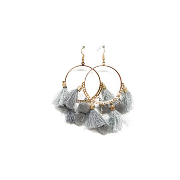 Halo Grey Tassel Earrings