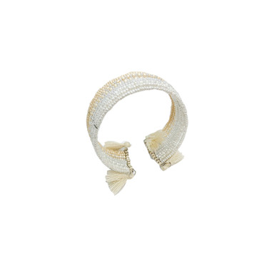 Cream Tassel Open Cuff