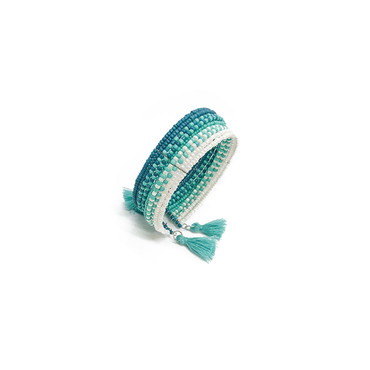 Blue Tassel Open Cuff