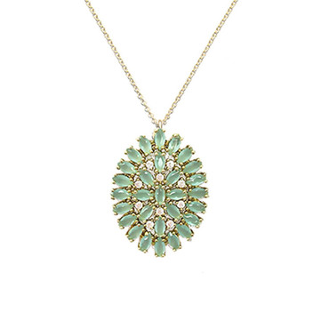 Mint Oval Burst Necklace