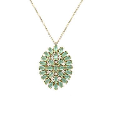 Mint Oval Burst Necklace