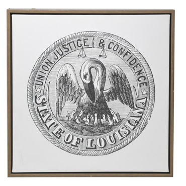 "LA State Seal 16"" Canvas Print with Dark Wood Frame"
