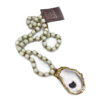Sage Oyster Blessing Bead - Long