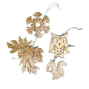 Gold Foil Driftwood Ornaments