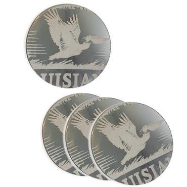 Set/4 Mirror Coasters - Louisiana Heritage (Pelican)