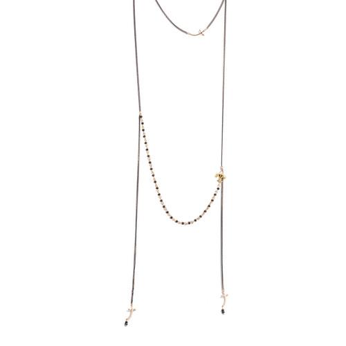 Purple/Gold Tiered Cross/Fleur Necklace