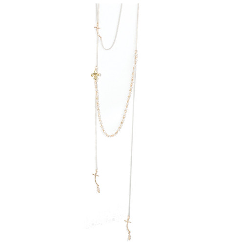 Beige Cross/Fleur Tiered Necklace