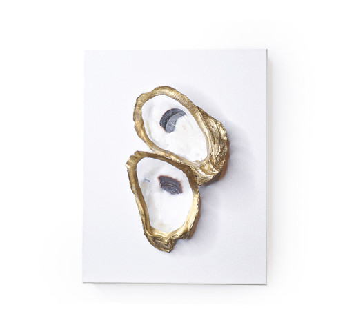 """Double Oyster White/Gold - 8x10"""" - 2 Shells"""