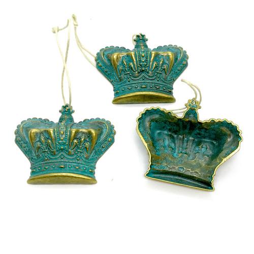 3pc Petina Metal Crown Ornaments w/Fleur