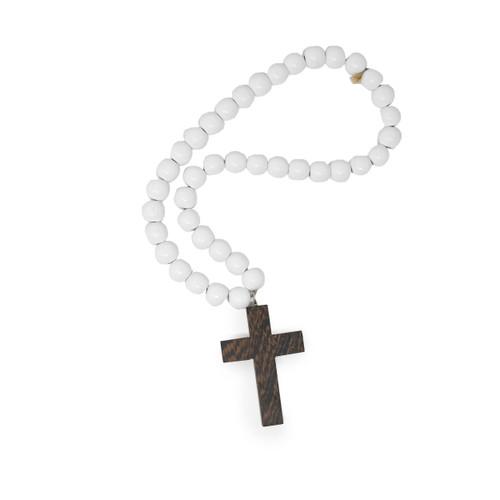 Blessing Bead - White & Natural Dark Wood Cross