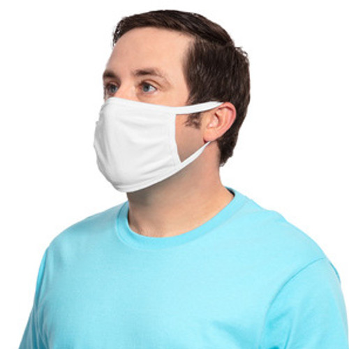 GOimprints PPE White Value Cotton Knit Face Mask - Tilt