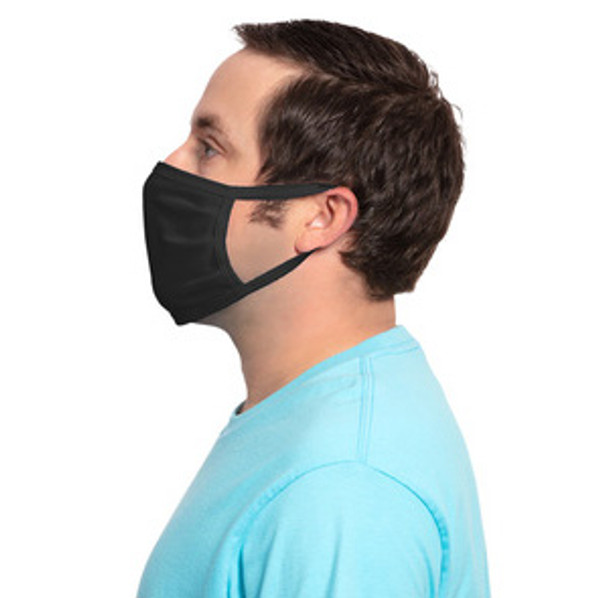 Black Value Cotton Knit Face Mask  GOimprints PPE - Side