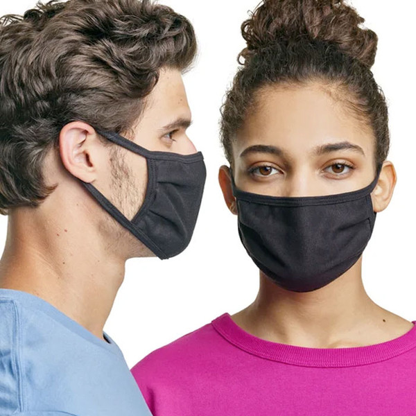 Hanes Discount Blank Cotton Masks in Black (Sold in Bulk)
