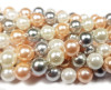 6mm  Silver, pink, and white shell pearl round beads