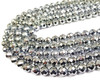 10mm Silver hematite faceted round beads