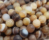 6mm 15.5 inch Light Brown Striped Matte Agate Round Beads