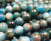 8mm Natural Blue Apatite Smooth Round Beads AB Quality